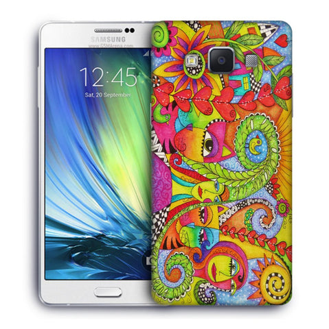 Snoogg Abstract Art Faces Designer Protective Back Case Cover For Samsung Galaxy A7