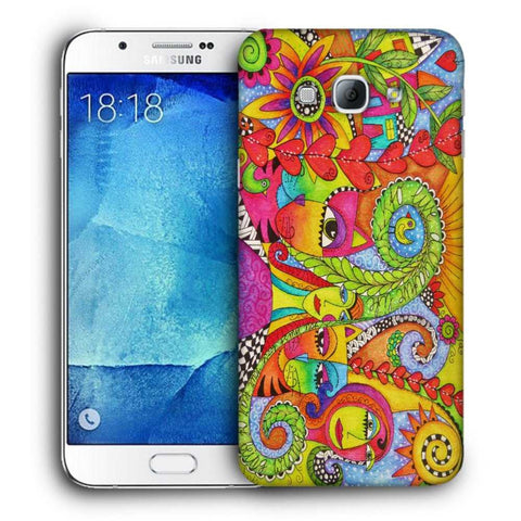 Snoogg Abstract Art Faces Designer Protective Back Case Cover For Samsung Galaxy A8