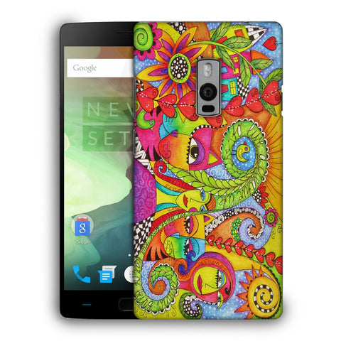Snoogg Abstract Art Faces Designer Protective Back Case Cover For OnePlus Two