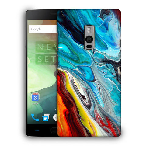 Snoogg Abstract Blue Art Designer Protective Back Case Cover For OnePlus Two
