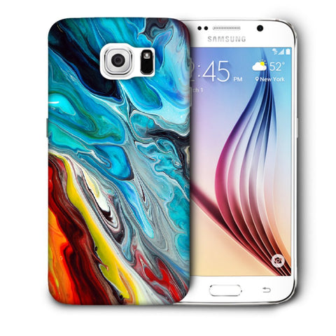 Snoogg Abstract Blue Art Designer Protective Back Case Cover For Samsung Galaxy S6
