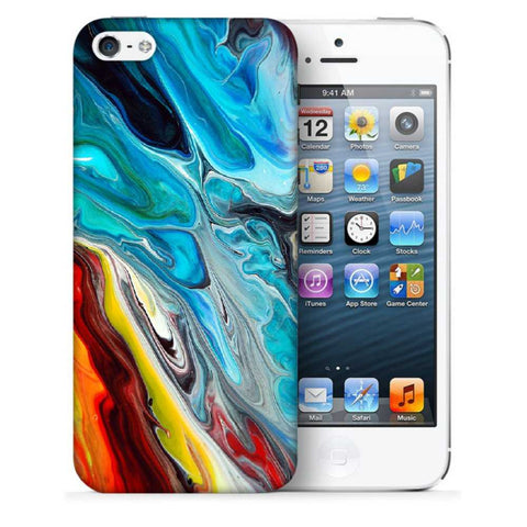 Snoogg Abstract Blue Art Designer Protective Back Case Cover For Apple Iphone SE