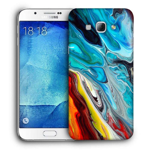 Snoogg Abstract Blue Art Designer Protective Back Case Cover For Samsung Galaxy A8