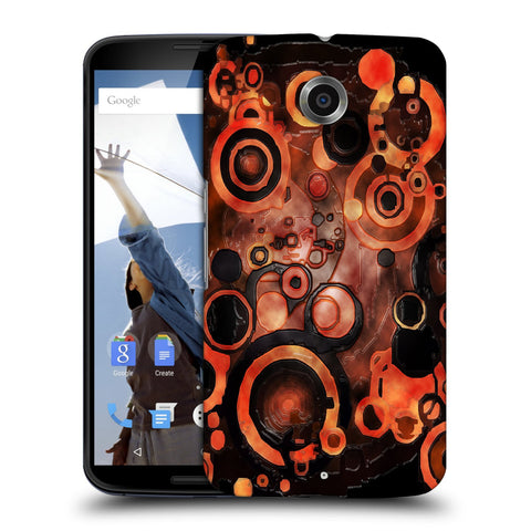 Snoogg Abstract Orange And Black Pattern Designer Protective Back Case Cover For Motorola Nexus 6