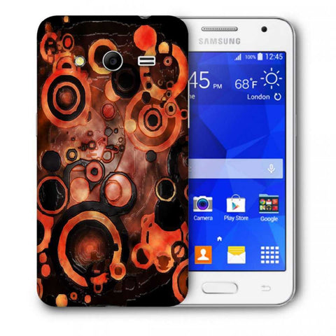 Snoogg Abstract Orange And Black Pattern Designer Protective Back Case Cover For Samsung Galaxy Core 2