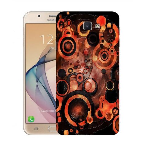 Snoogg Abstract Orange And Black Pattern Designer Protective Back Case Cover For Samsung Galaxy On Nxt / J7 Prime