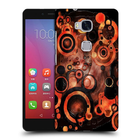 Snoogg Abstract Orange And Black Pattern Designer Protective Back Case Cover For Huawei Honor 5X