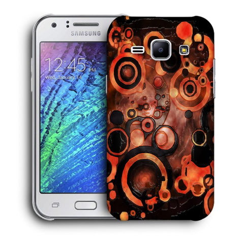 Snoogg Abstract Orange And Black Pattern Designer Protective Back Case Cover For Samsung Galaxy J1