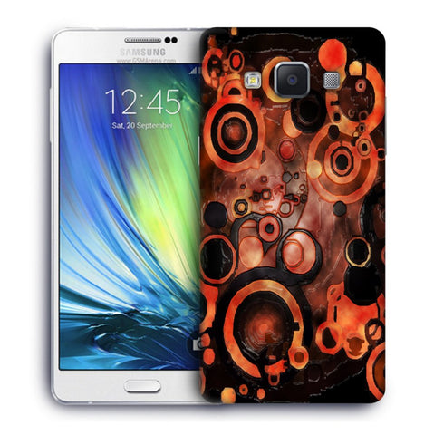 Snoogg Abstract Orange And Black Pattern Designer Protective Back Case Cover For Samsung Galaxy A7