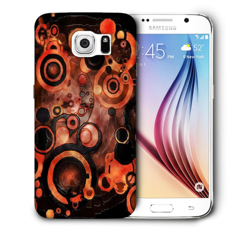 Snoogg Abstract Orange And Black Pattern Designer Protective Back Case Cover For Samsung Galaxy S6