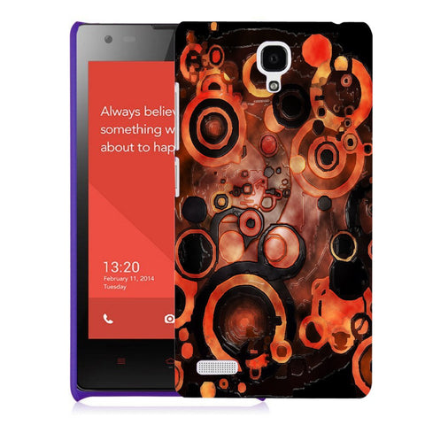 Snoogg Abstract Orange And Black Pattern Designer Protective Back Case Cover For Xiaomi Redmi Note 2