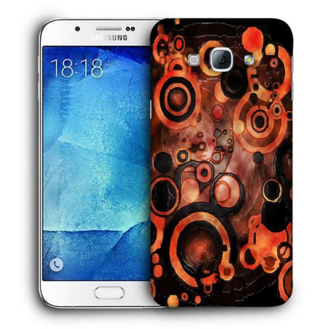 Snoogg Abstract Orange And Black Pattern Designer Protective Back Case Cover For Samsung Galaxy A8