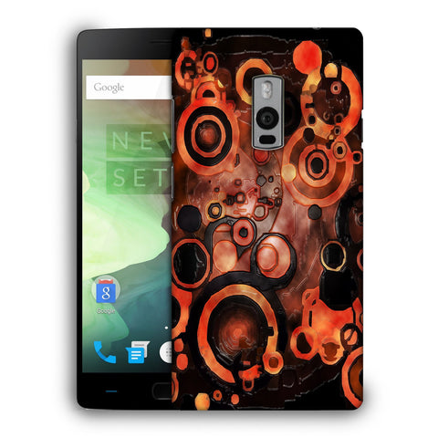 Snoogg Abstract Orange And Black Pattern Designer Protective Back Case Cover For OnePlus Two