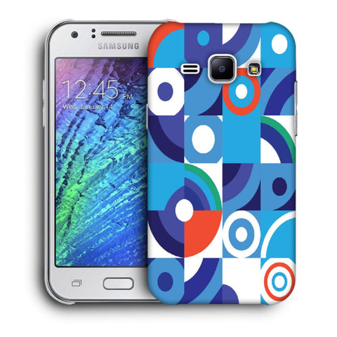 Snoogg Abstract Blue Pattern Designer Protective Back Case Cover For Samsung Galaxy J1