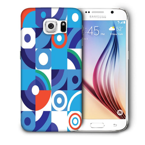 Snoogg Abstract Blue Pattern Designer Protective Back Case Cover For Samsung Galaxy S6