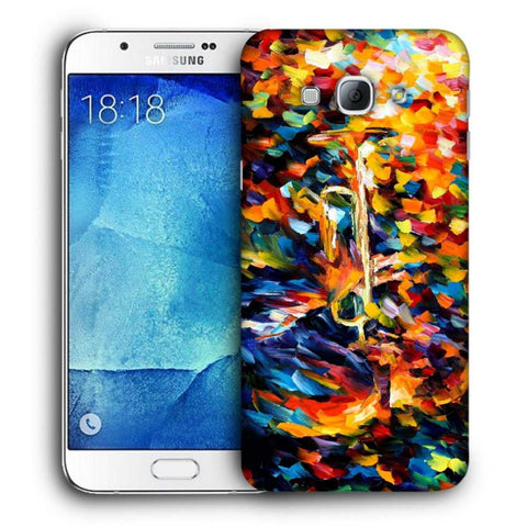Snoogg Abstract Colorful Paint Designer Protective Back Case Cover For Samsung Galaxy A8