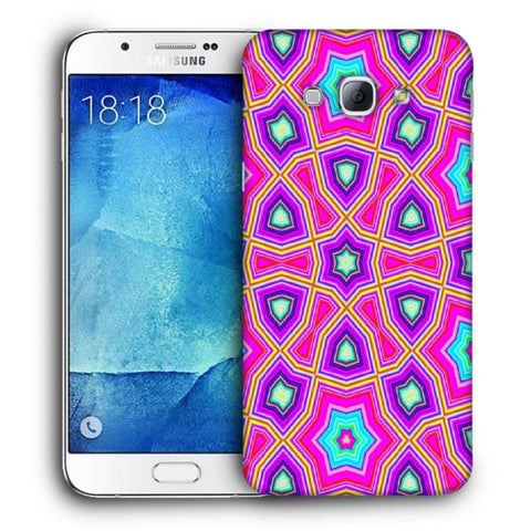 Snoogg Abstract Pink Star Pattern Designer Protective Back Case Cover For Samsung Galaxy A8