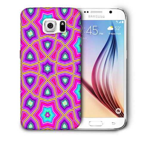 Snoogg Abstract Pink Star Pattern Designer Protective Back Case Cover For Samsung Galaxy S6