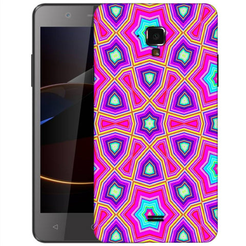 Snoogg Abstract Pink Star Pattern Designer Protective Back Case Cover For Swipe Elite 2 Plus