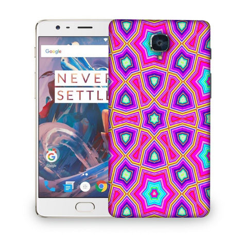 Snoogg Abstract Pink Star Pattern Designer Protective Back Case Cover For ONEPLUS 3T