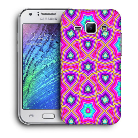Snoogg Abstract Pink Star Pattern Designer Protective Back Case Cover For Samsung Galaxy J1