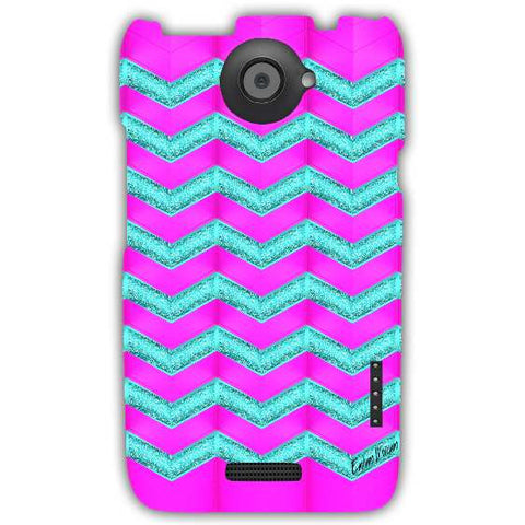 Pink and cyan glitter chevron-HTC-ONE-X+-case-cover-by-Emiliano Morciano