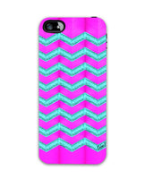 Pink and cyan glitter chevron-iphone4 Case Cover By Emiliano Morciano