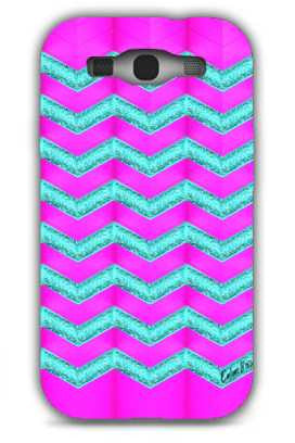 Pink and cyan glitter chevron-Samsung S3 Case Cover By Emiliano Morciano