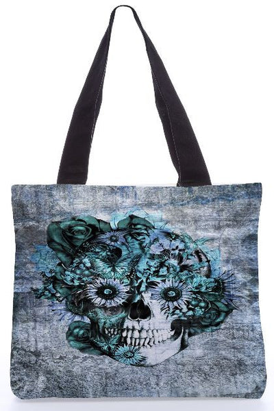 Blue Grunge Ohm Skull SNOOGG-poly-canvas-tote-bag-by-Kristy patterson