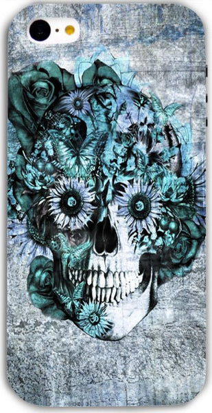 Blue Grunge Ohm Skull SNOOGG apple iphone 5c Case Cover By Kristy Patterson