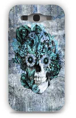Blue Grunge Ohm Skull SNOOGG Samsung S3 Case Cover By Kristy Patterson