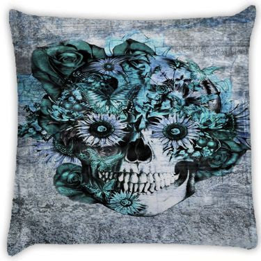 Blue Grunge Ohm Skull SNOOGG Throw Pillows by Kristy Patterson