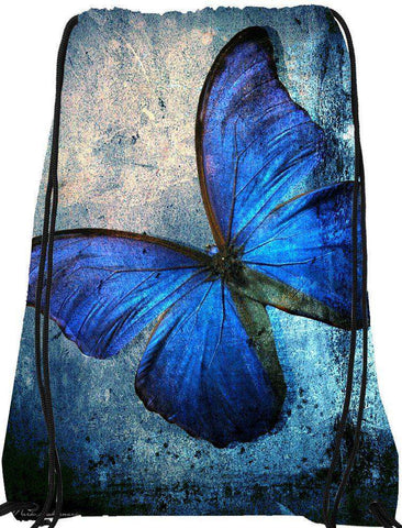Snoogg Blue butterfly Drawstring Bag  By Mark Ashkenazi