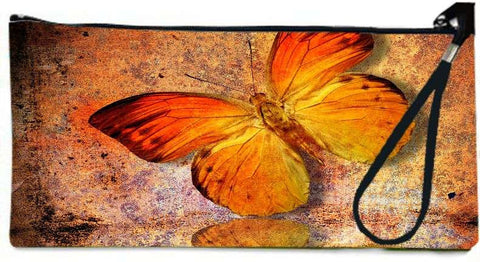 Snoogg Orange butterfly Wallet Clutch Pouch  By Mark Ashkenazi