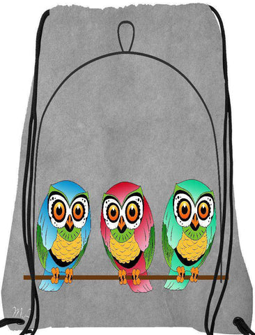 Snoogg 3 birds Drawstring Bag  By Mark Ashkenazi