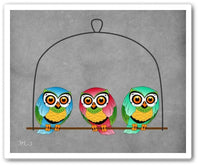 3 birds Wall Art Print