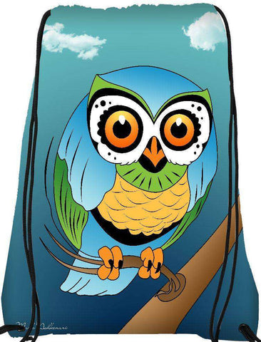 Snoogg blue owl  Drawstring Bag  By Mark Ashkenazi