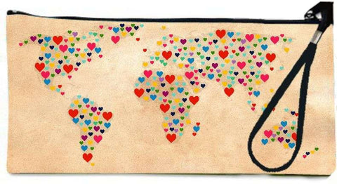 Snoogg heart map  2 Wallet Clutch Pouch  By Mark Ashkenazi