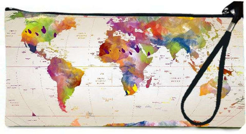 Snoogg Map of the world  Wallet Clutch Pouch  By Mark Ashkenazi