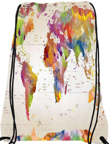 Snoogg Map of the world  Drawstring Bag  By Mark Ashkenazi