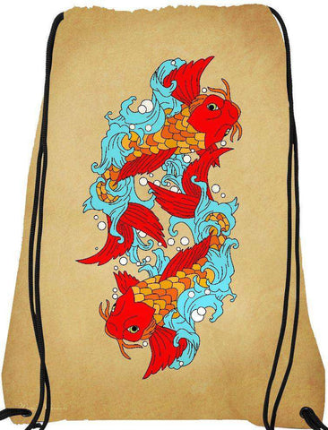 Snoogg gold fish Drawstring Bag  By Mark Ashkenazi