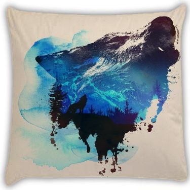 alone as a wolf Throw Pillows by Robert Farkas