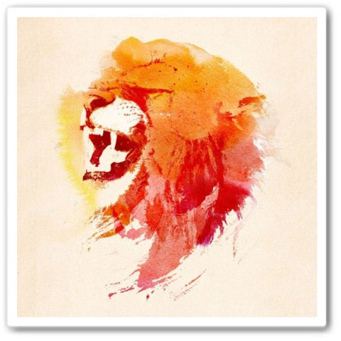 angry lion Wall Art Print