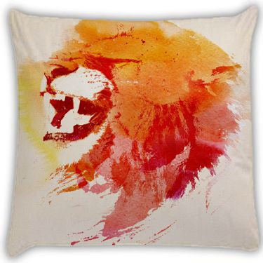angry lion Throw Pillows by Robert Farkas