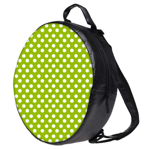 Snoogg Green Polka Dotted Bookbag Rounded Backpack Boys Girls Junior School Bag PE Shoulder Bag
