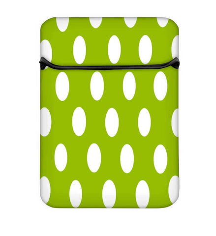 Snoogg Green Polka Dotted Laptop Case Flip Sleeve Pouch Computer Cover
