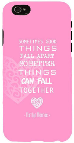 Snoogg  Things Fall Together Pink Case Cover For Apple Iphone 6+