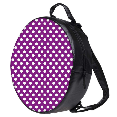 Snoogg Purple Polka Dot Bookbag Rounded Backpack Boys Girls Junior School Bag PE Shoulder Bag