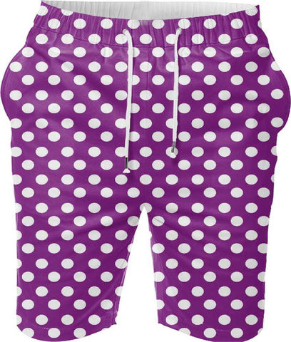 Snoogg Purple Polka Dot Digital Printed Mens Casual Beach Jogger Shorts With Pockets Boxer Style (Small)