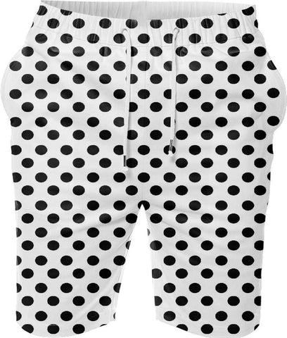 Snoogg White Polka Dot Digital Printed Mens Casual Beach Jogger Shorts With Pockets Boxer Style (Small)